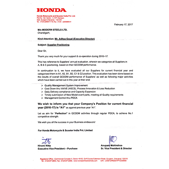 A1 Position in Supplier Positioning from Honda